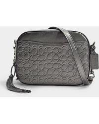 COACH - Metallic Signature Leather Camera Bag In Grey Calfskin - Lyst