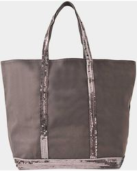 Vanessa Bruno - Canvas And Sequins Medium + Zipped Tote In Anthracite Cotton - Lyst