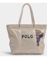 Polo Ralph Lauren - Petit Cabas PP Tote Teddy Bear en Toile Crème - Lyst