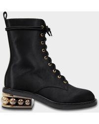 Nicholas Kirkwood - 35mm Casati Pearl Combat Boots In Black Cotton And Viscose - Lyst