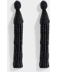 Oscar de la Renta - Long Beaded Tassel Clip Earrings In Jet Synthetic Material - Lyst