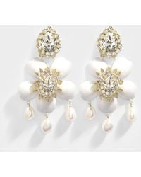 Exclusive Dahlia Crystal Earrings in Crystal, Brass, Swarovski Crystals and Pearls Shourouk