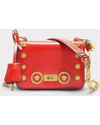Versace - Icon Shoulder Bag With Medusa Studs In Red Calfskin - Lyst