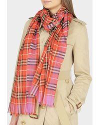 Burberry - 220X70 Vintage Check Gauze Tuch aus orangefarbener Wolle - Lyst