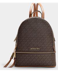 7b69e43c6069 MICHAEL Michael Kors - Michael Signature Rhea Zip Medium Backpack - Lyst
