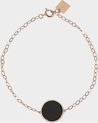Ginette NY Ever Onyx Disc 18-karat Rose Gold Bracelet