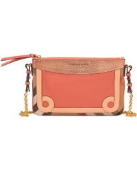 Hot Burberry - Peyton Clutch In Leather Patchwork And Canvas - Lyst 8ae39bef482b5