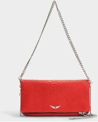 Zadig & Voltaire - Handtasche mit Schulterriemen Rock Savage aus rotem Kalbsleder - Lyst