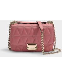 333049a4b9ce MICHAEL Michael Kors - Sloan Small Chain Shoulder Bag In Rose Quilted  Lambskin - Lyst