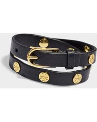 Tory Burch - Double-wrap Logo Stud Bracelet In Enamel And Leather Calfskin - Lyst