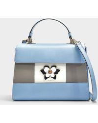 Furla - Altea Medium Top Handle Bag In Black And White Calfskin - Lyst