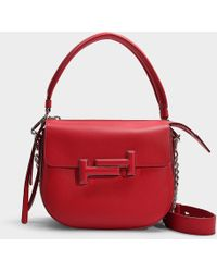 Tod's - Hobo Crossbody Bag In Red Grained Calfskin - Lyst