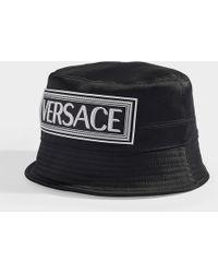 Versace Logo Bucket Hat In Black Cotton
