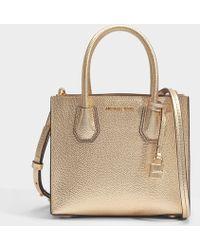 MICHAEL Michael Kors - Mercer Medium Messenger Bag In Pale Gold Mercer Pebble Leather - Lyst