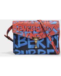Burberry - Small Macken Graffiti Bag In Black Leather Graffiti Print - Lyst f517f5e5ad7c8