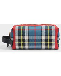 Burberry - Rw Washbag Bag In Blue And Yellow Cotton - Lyst