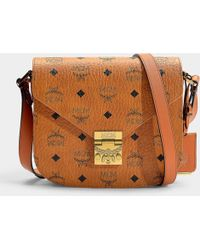 60c3d243966b MCM - Patricia Visetos Small Shoulder Bag In Cognac Coated Canvas - Lyst