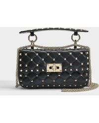 Valentino - Rockstud Spike Small Shoulder Bag In Black Calfskin - Lyst