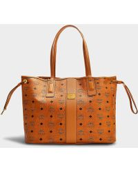 MCM - Shopper Project Visetos Reversible Shopper Medium Bag In Cognac Coated Canvas - Lyst