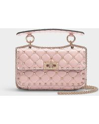 9d21241c2a1 Valentino - Rockstud Spike Small Shoulder Bag In Water Rose Nappa Lambskin  - Lyst