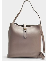 Hogan - Hobo Iconic Media Bag In Taupe Grained Calfskin - Lyst