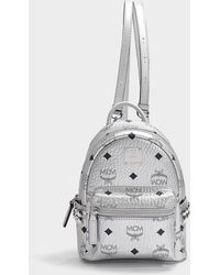 MCM - Stark Backpack 20 In Berlin Silver Coated Canvas - Lyst