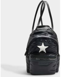 Stella McCartney - Eco Nylon Stars Falabella Go Mini Backpack In Black And Ivory Polyester - Lyst