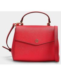52eeb018a76f Tory Burch - Robinson Small Top-handle Satchel In Brilliant Red Calfskin -  Lyst