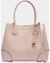 MICHAEL Michael Kors - Mercer Gallery Medium Leather Satchel Bag In Soft Pink Grained Calfskin - Lyst