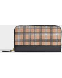 Burberry - Mini Vintage Canvas Check & Leather Zip Around Wallet - - Lyst