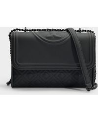 6821f4bf925f Tory Burch - Fleming Matte Small Convertible Shoulder Bag In Black  Synthetic Leather - Lyst