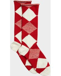 Burberry - Army Check Socks In Bright Red Wool - Lyst