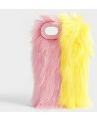 Charlotte Simone - Fluff Phone Case In Lemon Yellow And Pastel Pink Acrylic For Iphone 6, 7 And 8 - Lyst