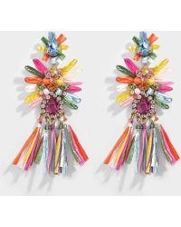 Shourouk - Sicily Multi Earrings In Multi Brass, Raffia And Swarovski Crystals - Lyst