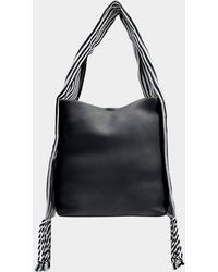 Loewe - Scarf Bucket Bag In Black Soft Grained Calf And Cotton - Lyst