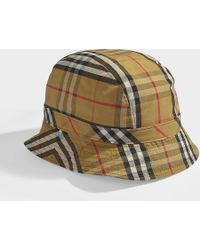 75793a2a99c Burberry - Vintage Check Bucket Hat In Antique Yellow Cotton - Lyst