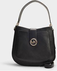 MICHAEL Michael Kors - Lillie Large Hobo Messenger Bag In Black Calfskin - Lyst