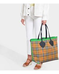 Burberry - The Giant Tote In Beige Cotton - Lyst