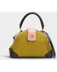 MANU Atelier - Demi Combo Top Handle Bag In Multicolor Suede Leather And Vegetable Tanned Calfskin - Lyst