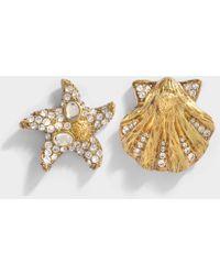 Versace Tribute Trésor de la Mer Asymmetrical Earrings in Crystal Brass 70RrwIiWr6