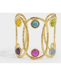 Sylvia Toledano - Jackie Cuff Bracelet In Gold-plated Brass And Multicolored Stones - Lyst