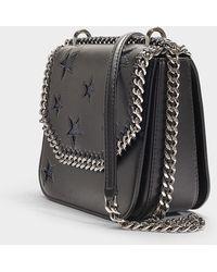 Stella McCartney - Medium Falabella Box Stars Glitter Shoulder Bag In Black Synthetic Material - Lyst