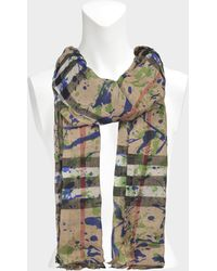 Burberry - 220x70 Splash Gauze Giant Check Stole In Grass Green Wool And Mulberry Silk - Lyst