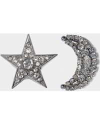 Helene Zubeldia - Asymmetrical Crystal Star And Moon Earrings In Ruthenium And Crystals - Lyst