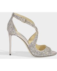 Jimmy Choo - Emily Cross Front Sandals In Platinium Painted Coarse Glitter - Lyst