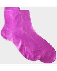 Maria La Rosa - Metallic Socks In Fuchsia Silk And Polyamide - Lyst