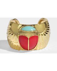 Aurelie Bidermann - Elvira Scarab Cuff Bracelet In Blue Enamel, Coral Resin And 18k Gold-plated Brass - Lyst