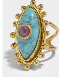 Sylvia Toledano - The Third Eye Ring In Gold-plated Brass With Turquoise And Ametyst - Lyst