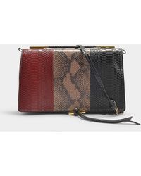 Stella McCartney - Medium Alter Snake And Alter Python Shoulder Bag In Black And Burgundy Synthetic Material - Lyst
