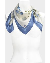 Off-White c/o Virgil Abloh - Floral Scarf 70x70 In White Silk - Lyst
